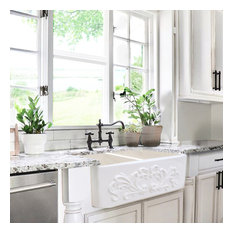 Nantucket Sinks Double Bowl Farmhouse Fireclay Sink with Filigree Apron