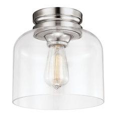 1-Light Hounslow Flushmount, Polished Nickel