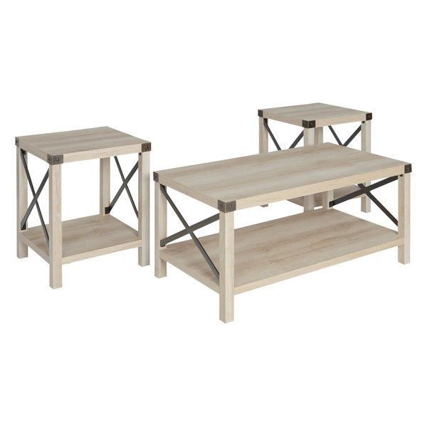 3-Piece Rustic Wood & Metal Accent Table Set, White Oak