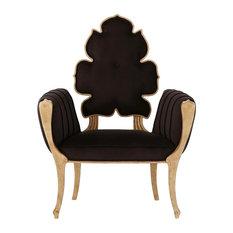 Luxe Elegant Sculpted Velvet Black Arm Chair, Mid Century Modern Wiggle Side