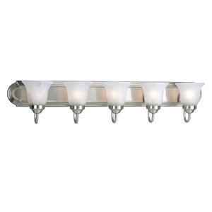 Progress Lighting 5-100W Medium Bath Bar, Brushed Nickel