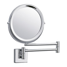 DWBA Wall Mounted 5X Cosmetic Makeup Magnifying 2-Arms Swivel Mirror, Polishe