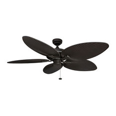 """52"""" Palm Island Bronze Ceiling Fan With Palm Blades"""