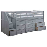 Marlena Grey Full Size Storage Low Loft Bed with Stairs