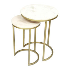 Nesting End Table, Brushed Brass
