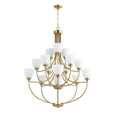 Enclave 15 Light Chandelier in Aged Brass