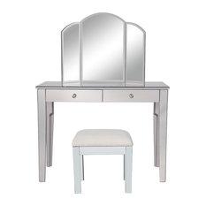 Elegant Decor Contempo 3 Piece Mirrored Bedroom Vanity Set in Antique Silver