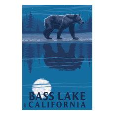 """Bass Lake, California, Bear at Night"" Print, 12""x18"""