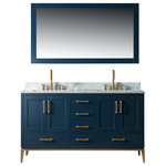 "Urban Furnishing - Joy Bathroom Sink Vanity Set, White Marble Top, Blue, 60"" - The Urban Furnishing - Joy bathroom vanity collection features modern comtemporary styling with ample storage in mind. It boasts a glamorous Italian Carrara Marble Top with matching backsplash, framed mirror and rectangular undermounted sink. Constructed from premium solid oak wood with Dovetail jointed drawers, a distinguishing feature reserve for high end cabinetry. No Medium Density Fiberboard (MDF) are used, often found in lower quality vanities. Deep recessed compartments gives plenty of room to organize all bath essentials. Features Gold hardware and stainless steel soft-closing hinge and slider on all drawers and doors."