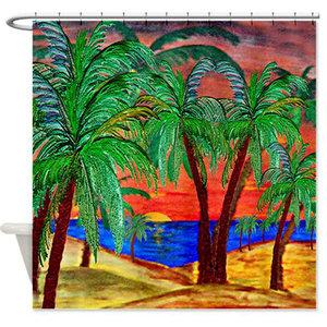 Palm Mountain Sunset Shower Curtain