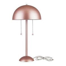 """Novogratz x Globe Electric Haydel 21"""" 2-Light Table Lamp, Matte Rose Gold"""