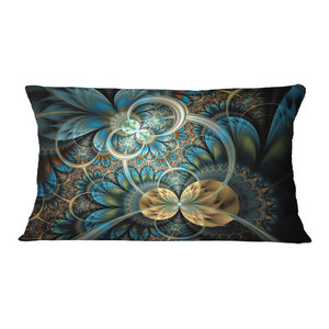 Sofa Throw Pillow 20 Inches Designart CU16494-20-20-C Gold Symmetrical Fractal Flower Abstract Round Cushion Cover for Living Room