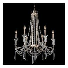 Barcelona Six Light Chandelier Transcend Silver Clear Crystal