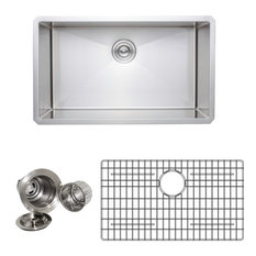 Wells Sinkware Handcrafted 16-gauge Single Stainless Steel Kitchen Sink Package