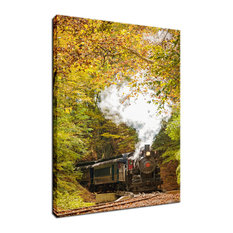 """Steam Train with Autumn Foliage"" Landscape Photo Fine Art Canvas Wall Art Print"