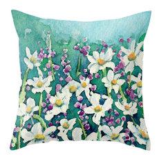 "Decorative Pillow Cover, Dancing Daisies Floral Pillow Case, 12""x17"""