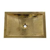 "Nantucket Sinks 19.8""x12.8"" Hammered Brass Rectangle Undermount Bathroom Sink"
