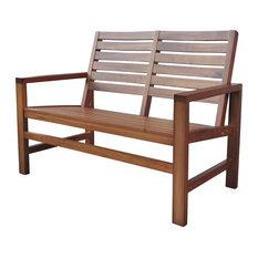 """Contemporary Garden Bench, 40"""", Oak"""