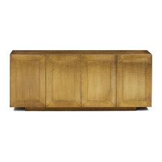 Crespi Brass Clad Wrapped Industrial Buffet Sideboard Cabinet