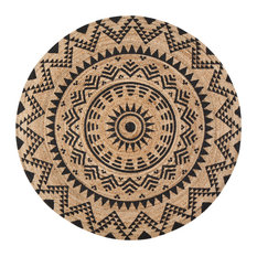 Jute Round Tribal Circle Black Print, 6' Round