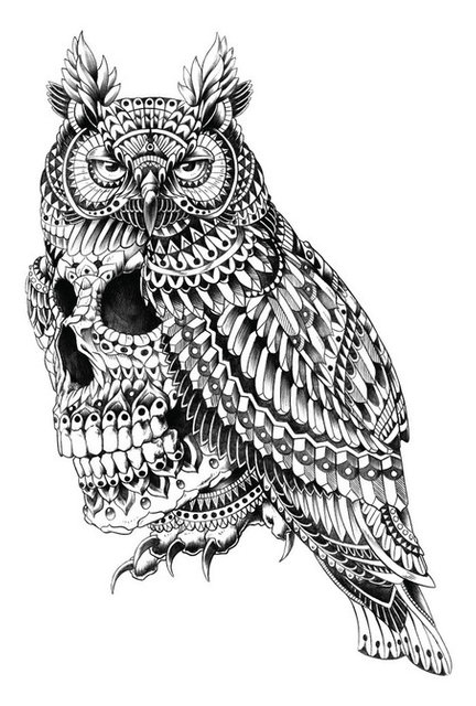 Great horned skull wall sticker decal ornate goth art by bioworkz small