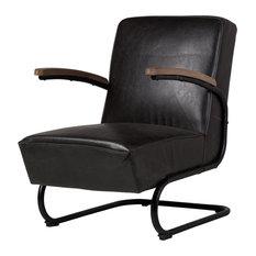 Savanah Club Chair, Espresso Black Leather