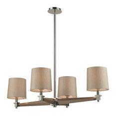 ELK Lighting Jorgenson 4-Light Chandelier, Polished Nickel and Taupe Wood