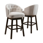 Westman Fabric Upholstered Swivel Seat Bar Stools, Set of 2