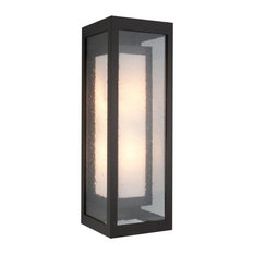 Outdoor Double Box Cover Sconce, Textured Black, Medium Mesh/Frosted Seeded Glas