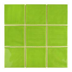 "SomerTile 11.75""x11.75"" Twist Square Ceramic Wall Tile, Case of 90, Green Kiwi"
