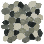 CNK Tile - Sliced Mixed White Black and Grey Pebble Tile - Each pebble is carefully selected and hand-sorted according to color, size and shape in order to ensure the highest quality pebble tile available. The stones are attached to a sturdy mesh backing using non-toxic, environmentally safe glue. Because of the unique pattern in which our tile is created they fit together seamlessly when installed so you can't tell where one tile ends and the next begins!