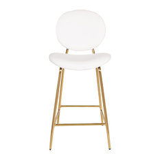 """Jade 26"""" Gold Frame Counter Stool, White Faux Leather"""
