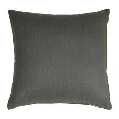 "Pillow Decor, Tuscany Linen 18""x18"" Throw Pillows, Charcoal Gray"