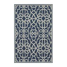 "Oriental Weavers Meridian 2205B Navy/Ivory Geometric Area Rug, 8'6""x13'"