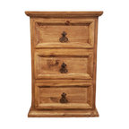 Traditional Rustic Nightstand With 3 Drawers