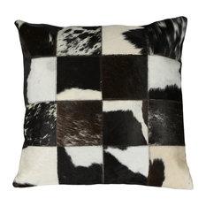 "Matador 18"" Black Leather Hide Hair On Pillow"