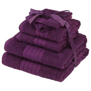 Luxury Supersoft 6-Piece Hand Bath Towels Bale 100% Egyptian Cotton, Purple