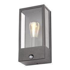 Edgworth Outdoor 1-Light Wall Light With PIR Sensor, Black