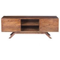Mid Century Modern Acacia Wood TV Unit With Wide Storage, Walnut Brown