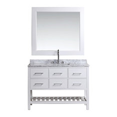 "London 48"" Single Sink Vanity Set in White Finish"
