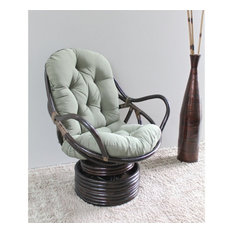 International Caravan Bali Rattan Swivel Rocker Chair-Black
