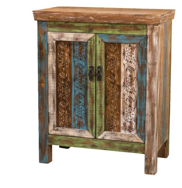 Leo Antique Dark Green Wood 2 Door Cabinet Eclectic Accent