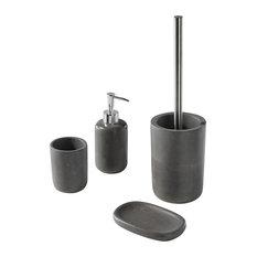 Modern 4-Piece Grey Bathroom Accessories Set
