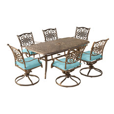 """Traditions 7-Piece Dining Set, Blue With 72""""x38"""" Cast-Top Table"""