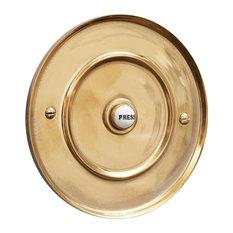 127mm Circular Door Bell Push, Renovated Brass