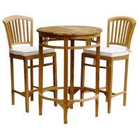 3-Piece Teak Wood Armless Orleans Bar Table/Chair Set With Cushions
