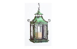 Distressed Blue Pagoda Lantern by The Well Appointed House