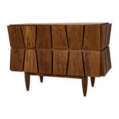 43.5-inch Long Dresser Solid Teak Natural Brown Four Drawers Unique Cutout Faces