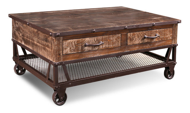 addison loft rustic solid wood coffee table on casters - industrial