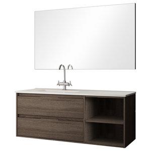 Neo 2-Drawer Bathroom Vanity Unit, Britannia Finish, 80 cm